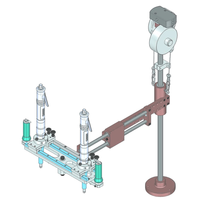 Special two-spindle linear torque reaction arm with adjustable spacing Type BA 100