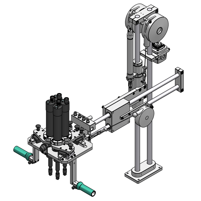 Special torque reaction arm with 4 spindles with adjustable spacing type BA 200